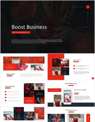 红色商业国外图片排版PPT模板Boost Business - Powerpoint Template