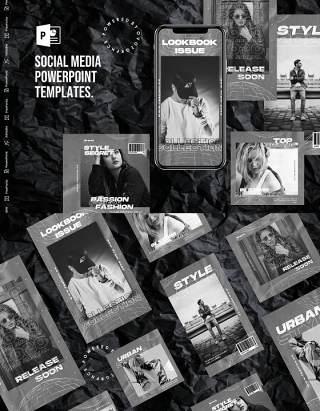 高端灰色手机竖版社交媒体PPT模板Social Media PowerPoint Template