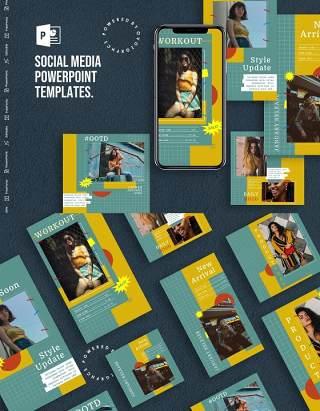 格子底纹手机竖版社交媒体PPT模板Social Media PowerPoint Template