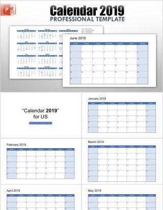 2019年日历PPT模板素材元素calendar 2019 for powerpointcalendar