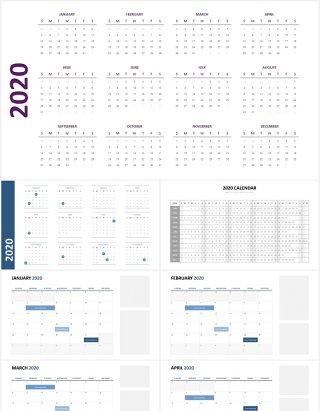 2020年日历月份时间计划安排图表PPT素材Calendar Powerpoint Slides