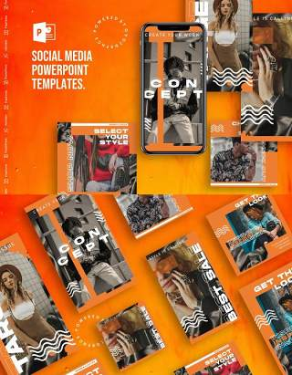 移动端竖版社交媒体PPT模板Social Media PowerPoint Template