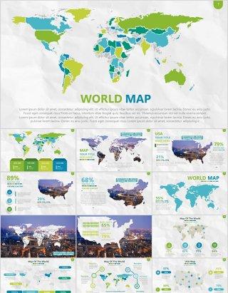 绿色系世界地图PPT演示元素含多个国家素材Map Presentation