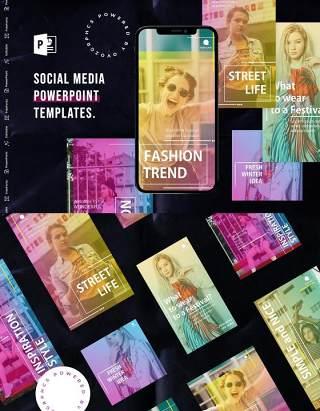 炫彩渐变亮丽手机竖版社交媒体杂志PPT版式模板不含照片Social Media PowerPoint Template