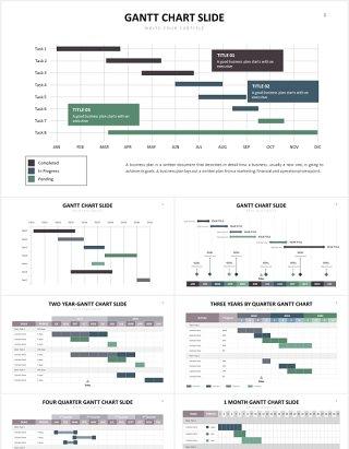 项目进度甘特图表格PPT信息图表素材Gantt Slides V1 Powerpoint Template
