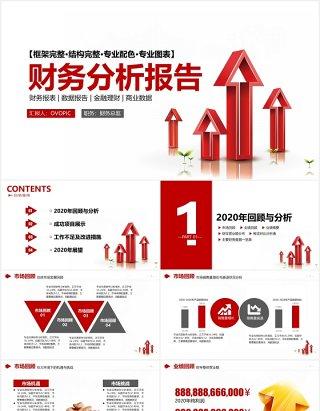 简约红色企业理财财务分析报告PPT模板
