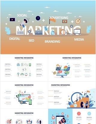 数字营销市场职场人物插画信息图表PPT素材Digital Marketing Powerpoint Slides