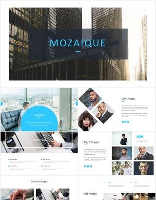 国外商务工作计划总结报告PPT模板Mozaique - Powerpoint Template