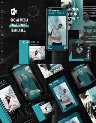 欧美风手机移动端社交媒体杂志PPT版式模板Social Media PowerPoint Template