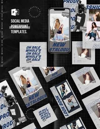 高级灰手机竖版社交媒体杂志PPT版式模板Social Media PowerPoint Template