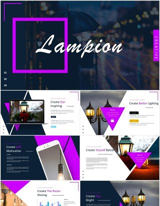 创意几何图片排版国外PPT模板lampion powerpoint template