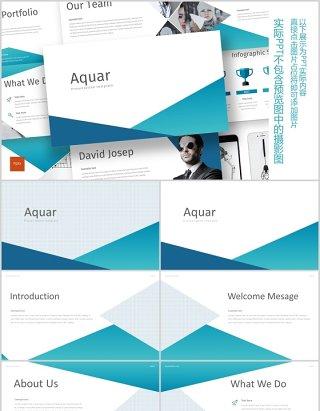 蓝色公司团队介绍个人简介通用PPT信息图表模板aquar powerpoint template