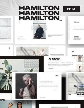 时尚造型师PPT模板版式设计HAMILTON - Powerpoint Business Corporate