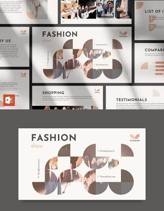 品牌时尚服装时装秀宣传介绍PPT模板不含照片Fashion Show PowerPoint Presentation Template