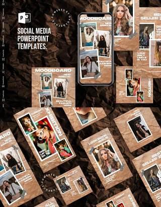 怀旧发黄纸张手机竖版社交媒体PPT模板Social Media PowerPoint Template