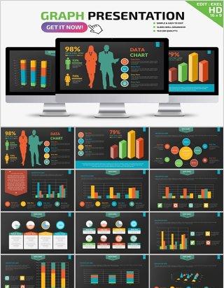 创意图形柱状图PPT信息图表Graph Powerpoint