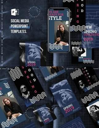 黑色手机移动端竖版社交媒体PPT模板Social Media PowerPoint Template