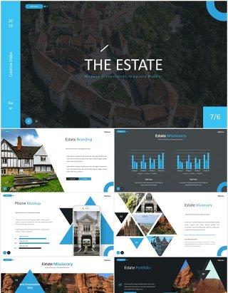 旅游景点宣传图片排版国外PPT图表模板The Estate - Powerpoint Template