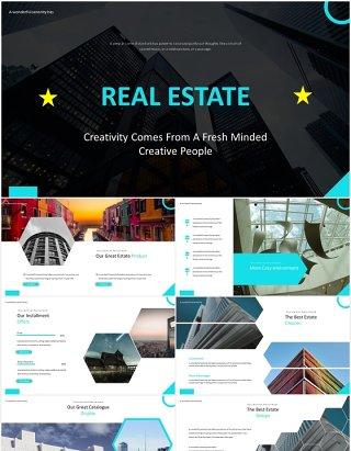 蓝色房地产建筑建设宣传展示PPT模板Real Estate - Powerpoint Template