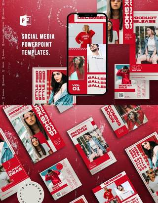 红色欧美风手机竖版社交媒体PPT模板Social Media PowerPoint Template