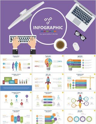信息图表素材PPT元素Infographics Powerpoint Presentation Slide_16x9