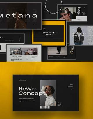 现代商业广告创意公司展示报告PPT模板不含照片Metana Modern Powerpoint Creative Agancy