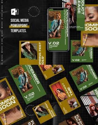 复古色系手机竖版社交媒体杂志PPT版式模板不含照片Social Media PowerPoint Template