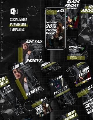 黑色简约手机移动端竖版社交媒体杂志PPT版式模板Social Media PowerPoint Template