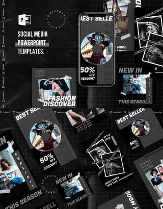 深色手机竖版社交媒体杂志PPT版式模板Social Media PowerPoint Template