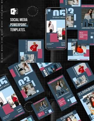 高级灰手机移动端竖版社交媒体杂志PPT版式模板Social Media PowerPoint Template