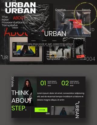 黑色创意商务简报企业商业报告PPT模板不含照片Urban Creative Business Powerpoint