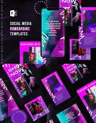 炫彩紫色渐变手机竖版社交媒体杂志PPT版式模板不含照片Social Media PowerPoint Template