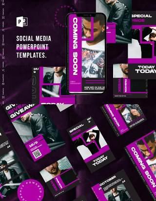 黑色紫色手机竖版社交媒体杂志PPT版式模板不含照片Social Media PowerPoint Template