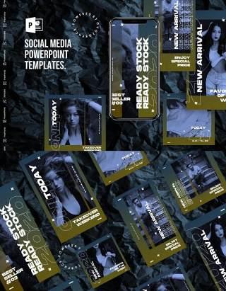深色神秘感手机竖版社交媒体PPT模板Social Media PowerPoint Template