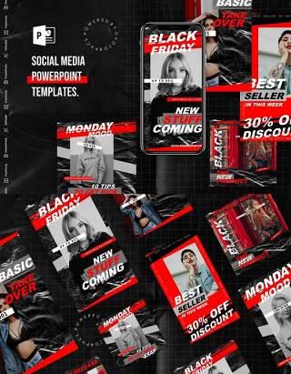 黑红双色手机竖版社交媒体杂志PPT版式模板不含照片Social Media PowerPoint Template