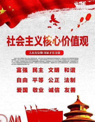 社会主义核心价值观宣传挂画系列海报展板PSD设计素材