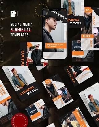 时尚手机竖版社交媒体杂志PPT版式模板不含照片Social Media PowerPoint Template