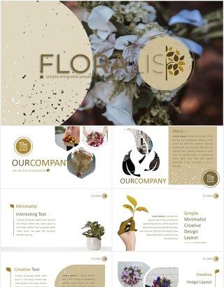 花卉鲜花花店宣传图片排版PPT图表模板Floralist - Powerpoint