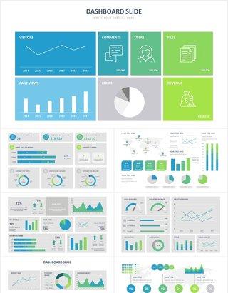 仪表板可视化信息图表PPT素材Dashboard Slides Powerpoint Template