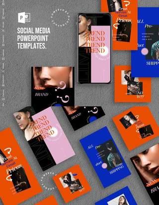 红蓝色手机移动端竖版社交媒体PPT模板Social Media PowerPoint Template