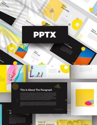 黄色简约创意PPT模板版式设计Yellow Creative Powerpoint