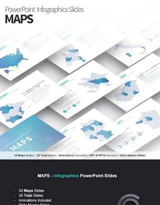 多国家地图PPT幻灯片素材可编辑MAPS