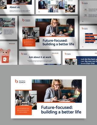商业创业企业教练培训PPT模板Business Coach PowerPoint Presentation Template