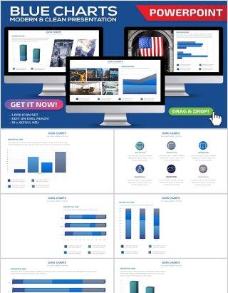 蓝色立体柱状图PPT信息图表可插图片Blue Charts Powerpoint Template