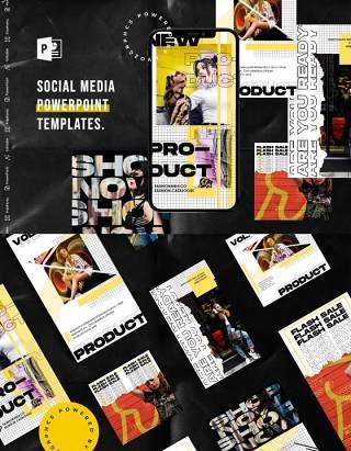 简洁黄色手机竖版社交媒体杂志PPT版式模板Social Media PowerPoint Template