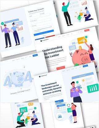 商业项目产品投资互联网融资人物概念插画场景矢量素材网页UI界面设计