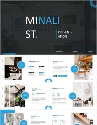 国外简约家装室内设计PPT模板Minalist Powerpoint Template