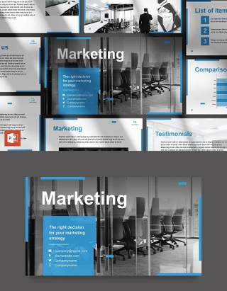 创意营销公司商业战略计划报告PPT模板不含照片Marketing Firm PowerPoint Presentation Template
