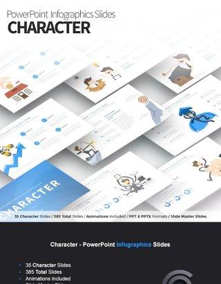 11套色系角色独特的PPT信息图形幻灯片演示Character - PowerPoint Infographics Slides
