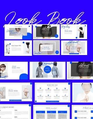 时尚服装杂志宣传介绍PPT模板版式设计Look Book Presentation